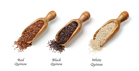 Red, black and white quinoa seeds